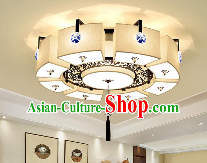 Traditional China Handmade Blue and White Porcelain Lantern Ancient Lanterns Palace Ceiling Lamp