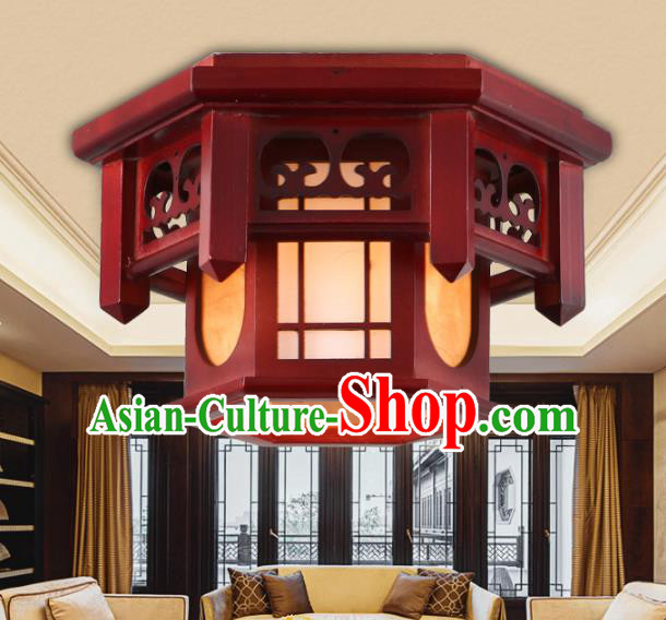 Asian China Handmade Wood Lantern Traditional Ancient New Year Ceiling Lamp Palace Lanterns