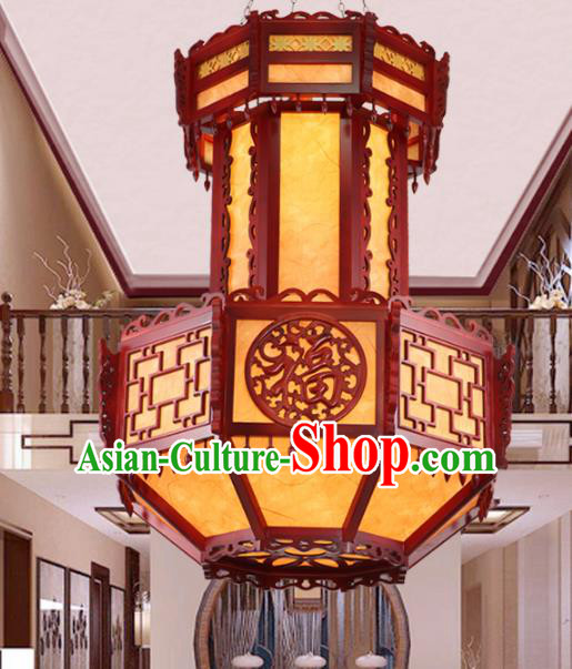 Chinese Handmade Wood Lantern Traditional Palace Large Ceiling Lamp Ancient Hanging Lanterns