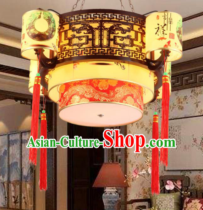 Chinese Handmade Printing Hanging Lantern Traditional Palace Wood Ceiling Lamp Ancient Lanterns