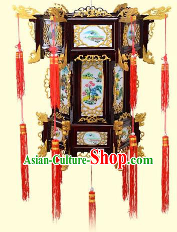 Chinese Handmade Landscape Painting Golden Palace Lanterns Traditional New Year Hanging Lantern