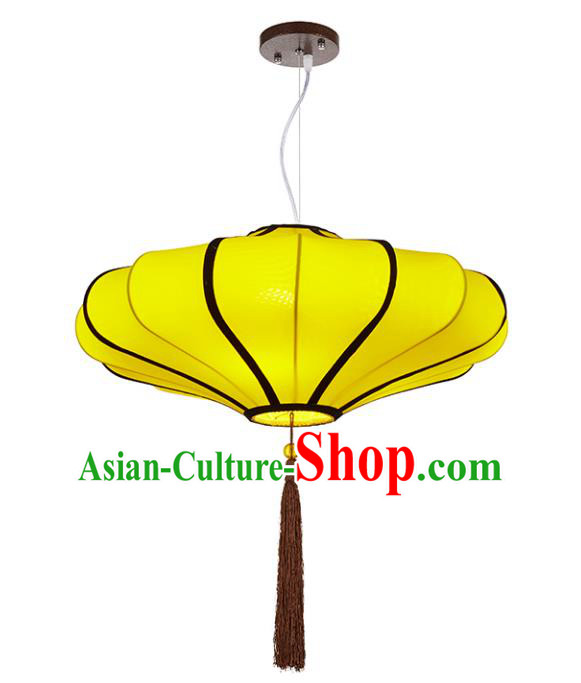 Chinese Classical Handmade Yellow Palace Lanterns Traditional Hanging Lantern Ancient Ceiling Lamp