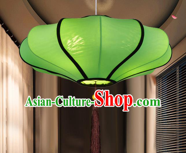 Chinese Classical Handmade Green Palace Lanterns Traditional Hanging Lantern Ancient Ceiling Lamp