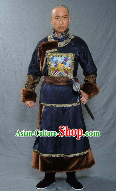 Chinese Qing Dynasty General Historical Costume Ancient Manchu Royal Highness Clothing for Men