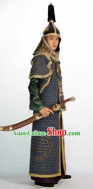 Chinese Qing Dynasty Manchu Warrior Historical Costume Ancient General Armour Clothing for Men