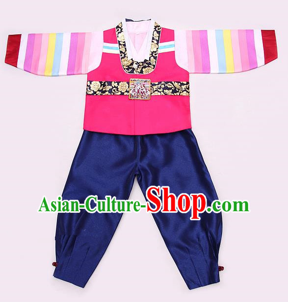 Korean Traditional Hanbok Clothing Korean Boys Hanbok Costumes Pink Shirt and Navy Pants for Kids