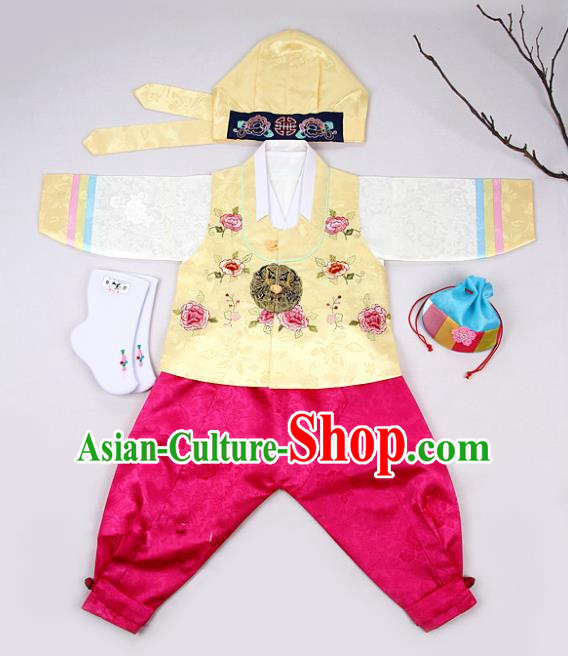 Korean Traditional Hanbok Clothing Korean Boys Hanbok Costumes Yellow Shirt and Rosy Pants for Kids