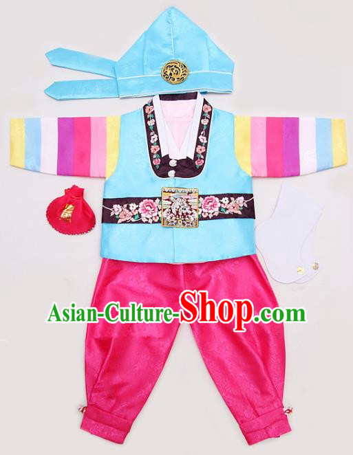 Korean Traditional Hanbok Clothing Korean Boys Hanbok Costumes Blue Shirt and Rosy Pants for Kids