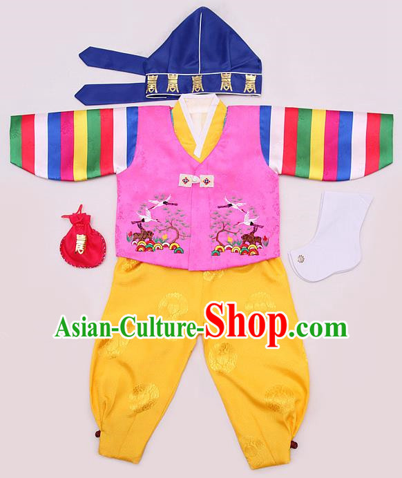 Korean Traditional Hanbok Clothing Korean Boys Hanbok Costumes Pink Shirt and Yellow Pants for Kids