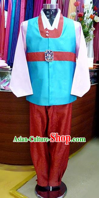 Asian Korean Traditional Hanbok Clothing Ancient Korean Blue Shirt and Red Pants Costume for Men