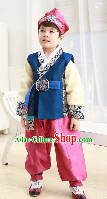Korean Traditional Hanbok Clothing Korean Boys Hanbok Costumes Blue Shirt and Pink Pants for Kids