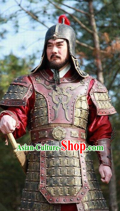Chinese Ancient Ming Dynasty General Official Replica Costume Helmet and Armour for Men