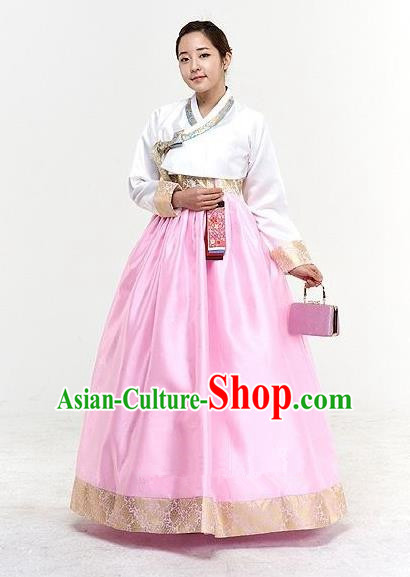 Top Grade Korean Traditional Hanbok Bride White Blouse and Pink Dress Fashion Apparel Costumes for Women