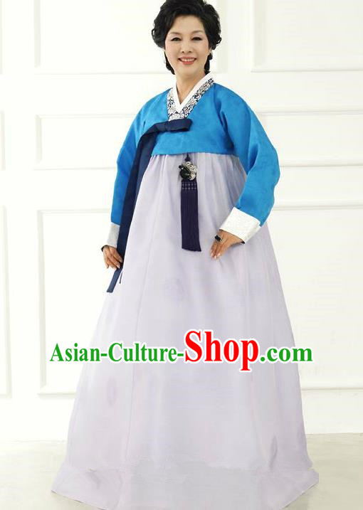 Top Grade Korean Hanbok Traditional Hostess Blue Blouse and White Dress Fashion Apparel Costumes for Women