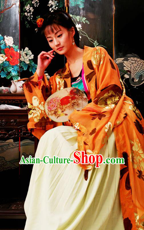Chinese Classical Novel Dream of the Red Chamber Character Third Sister You Replica Costume for Women