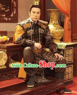 Traditional Chinese Ming Dynasty Ancient General Costume Helmet and Armour for Men