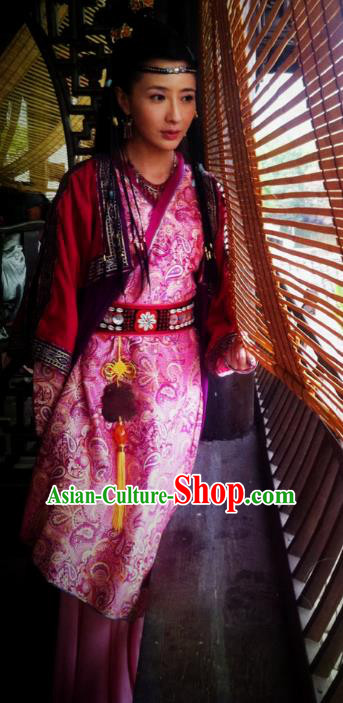 Ancient Chinese Ming Dynasty Swordswoman Embroidered Dress Historical Costume for Women