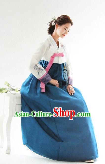 Top Grade Korean Hanbok White Blouse and Blue Dress Ancient Traditional Fashion Apparel Costumes for Women