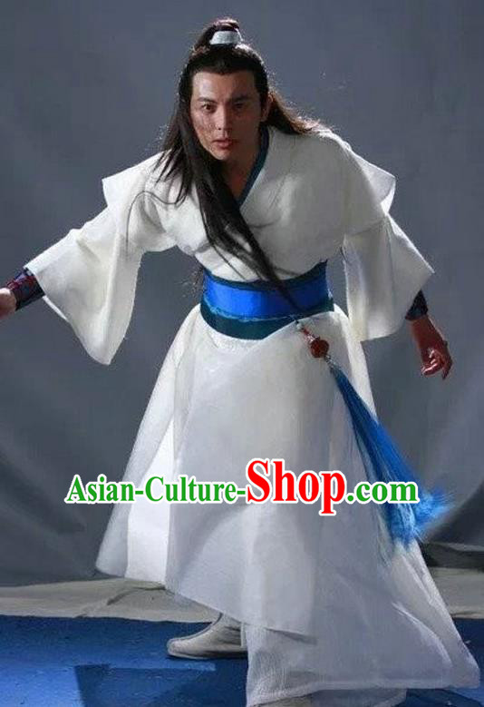 Chinese Ming Dynasty Swordsman Hanfu White Clothing Ancient Knight-errant Replica Costume for Men