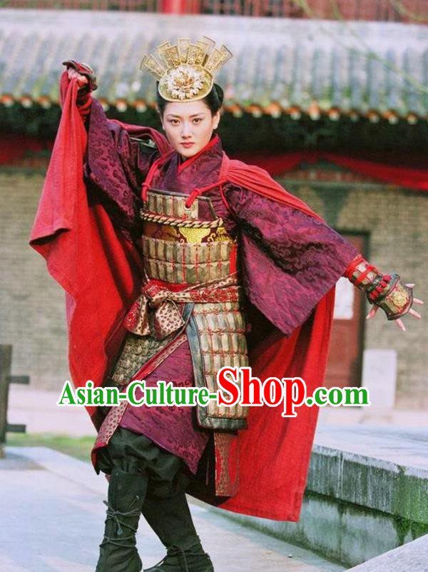 Ancient Chinese Song Dynasty Yang Family Female General Replica Costume Helmet and Armour for Women