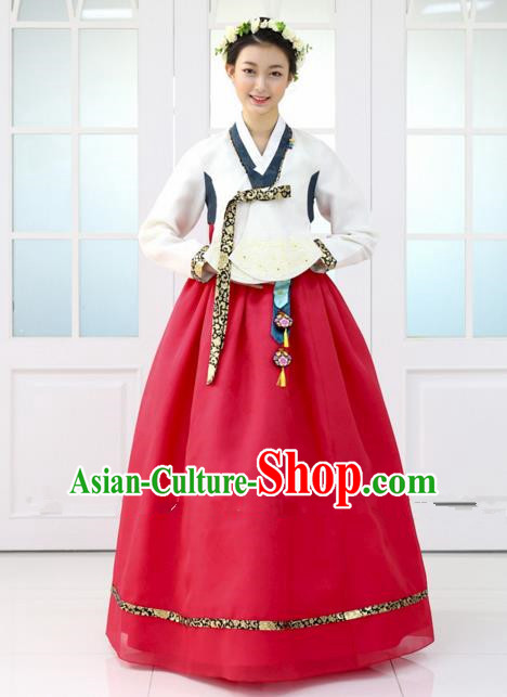 Korean Traditional Bride Hanbok Formal Occasions White Blouse and Red Dress Ancient Fashion Apparel Costumes for Women