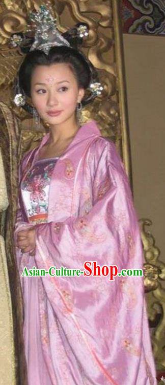 Chinese Ancient Southern Tang Dynasty Imperial Consort of Li Yu Embroidered Replica Costume for Women
