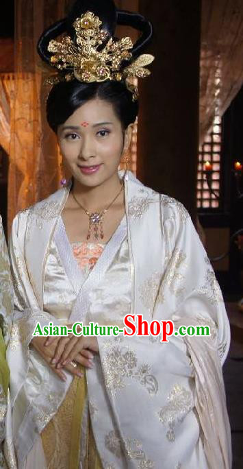 Chinese Ancient Tang Dynasty Palace Lady Embroidered Dress Princess Taiping Replica Costume for Women