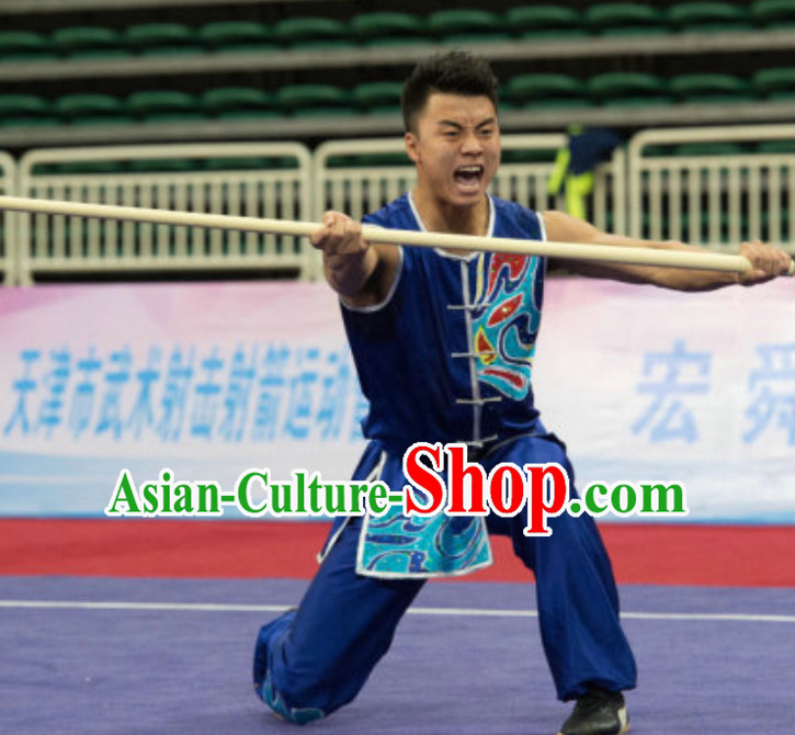 Sleeveless Top Southern Fist Kung Fu Uniforms  Tai Chi Uniforms Martial Arts Blouse Pants Kung Fu Suits Kungfu Outfit Professional Kung Fu Clothing Complete Set for Men