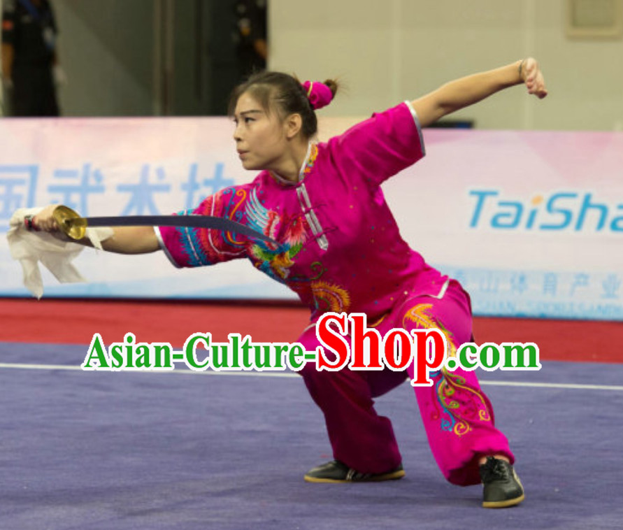 Top Southern Fist Kung Fu Uniforms  Tai Chi Uniforms Martial Arts Blouse Pants Kung Fu Suits Kungfu Outfit Professional Kung Fu Clothing Complete Set for Girls Kids
