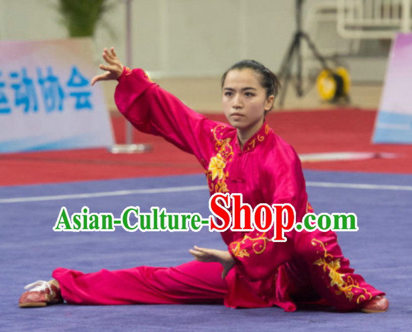Long Sleeves Top Taiji Garment Kung Fu Uniforms Tai Chi Uniforms Martial Arts Blouse Pants Kung Fu Suits Kungfu Outfit Professional Kung Fu Clothing Complete Set for Girls Kids Teenagers