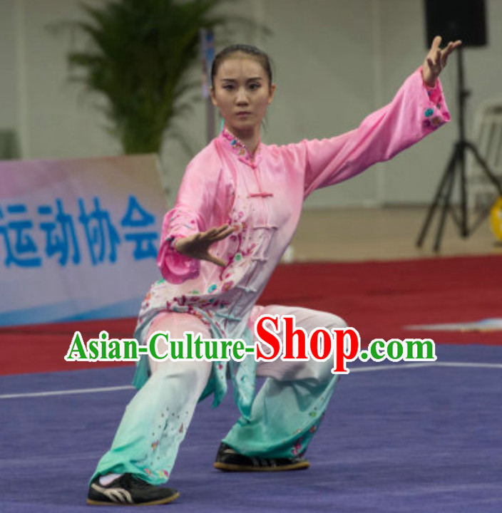 Top Taiji Garment Long Sleeves Kung Fu Uniforms Tai Chi Uniforms Martial Arts Blouse Pants Kung Fu Suits Kungfu Outfit Professional Kung Fu Clothing Complete Set for Girls Kids Teenagers