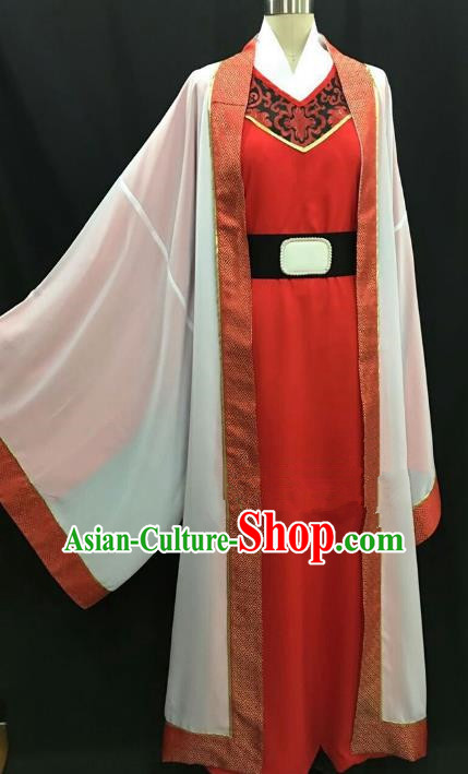 Top Grade Chinese Beijing Opera Young Men Red Robe Peking Opera Niche Costume for Adults