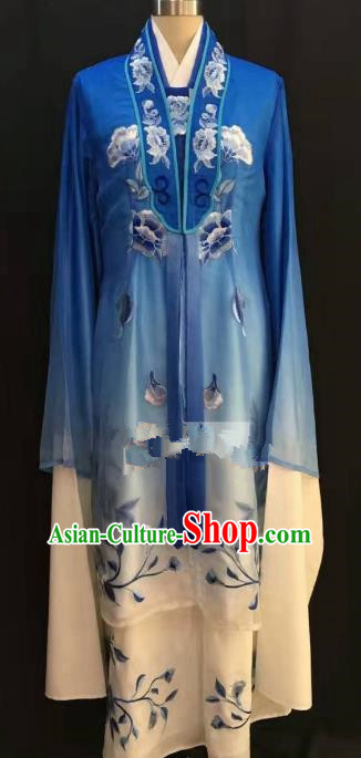 Traditional Chinese Beijing Opera Costume Professional Peking Opera Diva Blue Dress