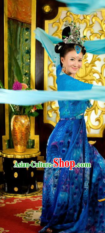 Chinese Ancient Tang Dynasty Palace Dance Blue Dress Courtesan Historical Costume for Women