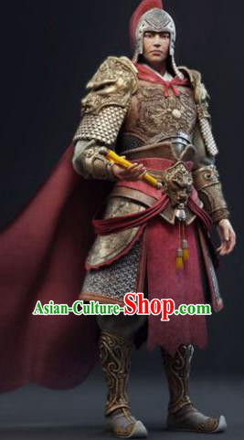 Chinese Ancient Tang Dynasty General Costume Warrior Helmet and Armour for Men