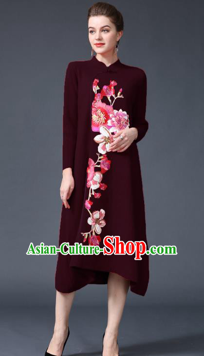 Chinese National Costume Embroidered Peony Wine Red Cheongsam Qipao Dress for Women