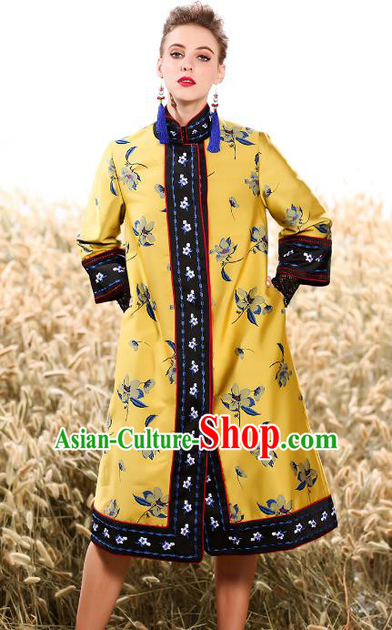 Chinese National Costume Traditional Embroidered Yellow Dust Coats for Women