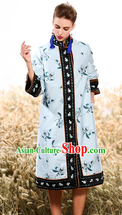 Chinese National Costume Traditional Embroidered Blue Dust Coats for Women