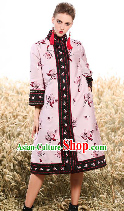Chinese National Costume Traditional Embroidered Pink Dust Coats for Women