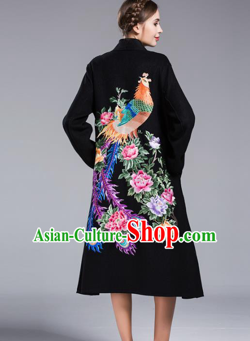 Chinese National Costume Wool Black Coats Traditional Embroidered Dust Coats for Women