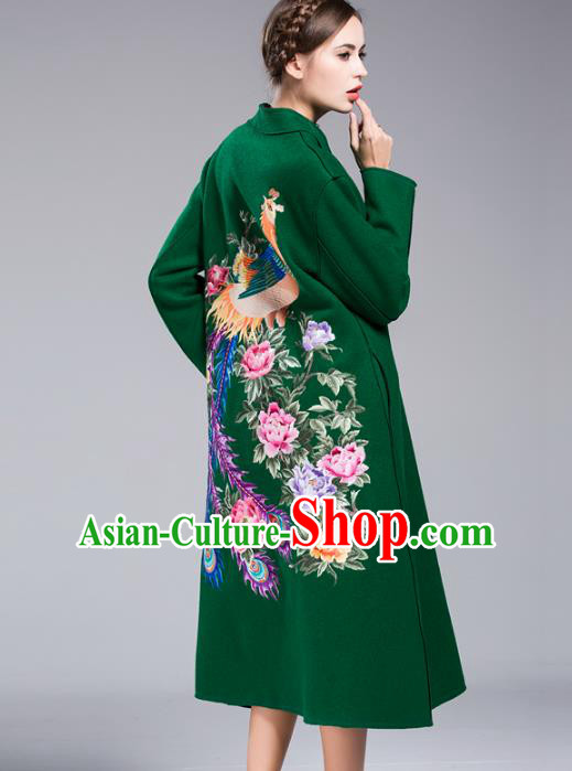 Chinese National Costume Wool Green Coats Traditional Embroidered Dust Coats for Women