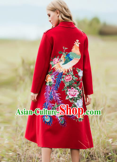Chinese National Costume Wool Red Coats Traditional Embroidered Dust Coats for Women