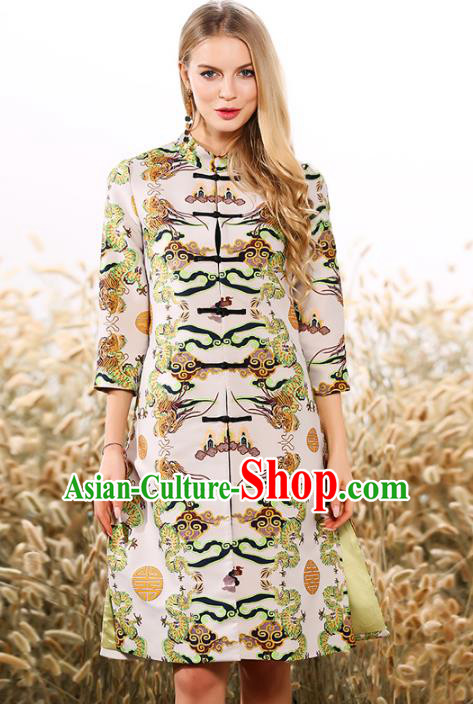 Chinese National Costume Printing Coats Traditional Embroidered Dust Coats for Women