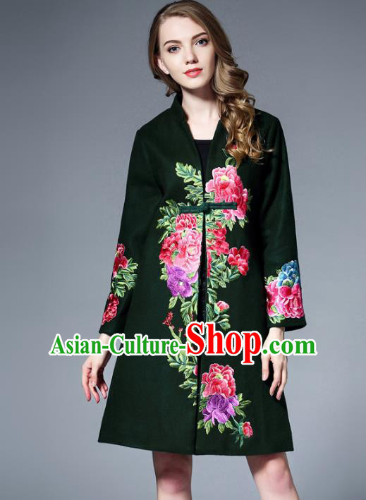 Chinese National Costume Green Wool Coats Traditional Embroidered Peony Dust Coats for Women