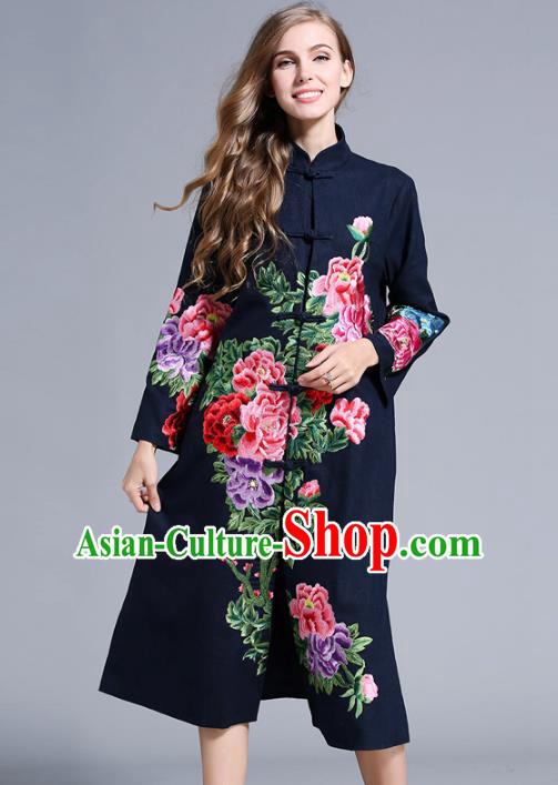 Chinese National Costume Navy Plated Buttons Coats Traditional Embroidered Peony Dust Coats for Women