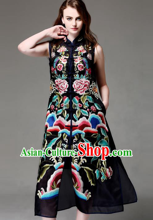 Chinese National Costume Black Sleeveless Cheongsam Embroidered Peony Qipao Dress for Women