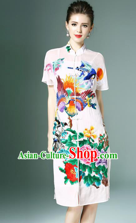 Chinese National Costume White Embroidered Peony Cheongsam Qipao Dress for Women