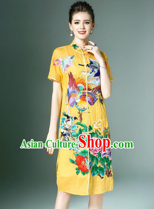 Chinese National Costume Yellow Embroidered Peony Cheongsam Qipao Dress for Women