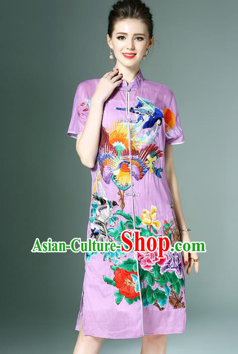Chinese National Costume Purple Embroidered Peony Cheongsam Qipao Dress for Women