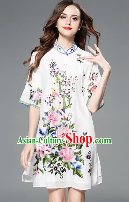 Chinese National Costume Embroidered Peony Cheongsam White Qipao Dress for Women